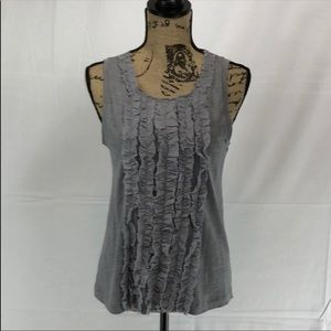 J. Crew Factory Grey Cotton Ruffled Tank Top (XS)